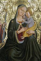 0362670 © Granger - Historical Picture ArchiveART & ARCHITECTURE.   Madonna of humility, by Benozzo Gozzoli (1421-1497), Sapienza Nuova Altarpiece, 1456, tempera on panel, Perugia, Umbria, Italy. Full Credit: De Agostini / S. Vannini / Granger, NYC -- All rights reserved.