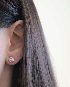 14K Rose Gold Finish CZ Stud Earrings Clear Pink Sapphire CZ Stud Ear Stud 4mm To 8mm