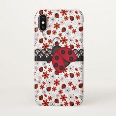 Charming Ladybugs iPhone X Case - flowers floral flower design unique style