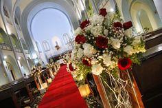 Para noivas: Decoração de casamento vermelho e branco
