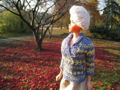 Barbie Knitting Pattern, Barbie Fair Isle Shawl Collar Sweater