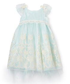 Look what I found on #zulily! Blue Floral Flutter Sleeve A-Line Dress - Infant, Toddler & Girls #zulilyfinds