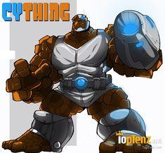 10 Marvel DC Superhero Mashups-Cything When The Thing gets him self hurt really bad,Cyborg has tuned him up to CYTHING!