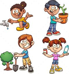 Buy Ecology Kids by memoangeles on GraphicRiver. Kids helping the environment. Vector clip art illustration with simple gradients. Each on a separate layer. Best Cartoon Characters, Cartoon Faces, Cartoon Drawings, Kid Character, Character Creation, Cartoon People, Cartoon Kids, Clipart, Rick And Morty Poster