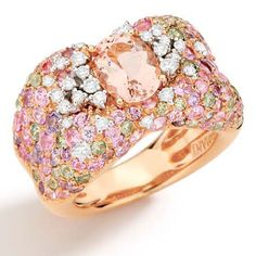 Panachè Collection - Ring in 18K white and rose gold with white and brown diamonds, morganite and multicolored sapphires.