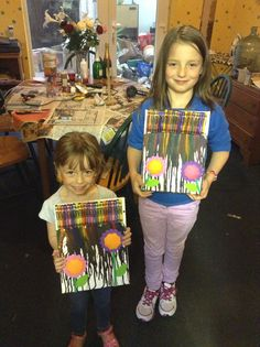 Got my nieces being crafty on a boring rainy Sunday! Think we could have done with so,me brighter crayons!!