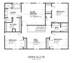 European Style House Plan - 4 Beds 2.5 Baths 2998 Sq/Ft Plan #901-79 Floor Plan - Upper Floor Plan - Houseplans.com