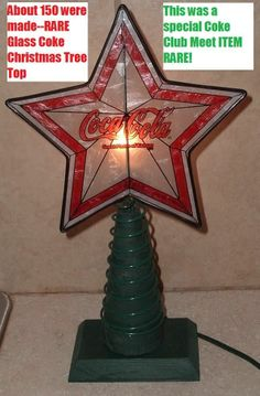 RARE  Coca Cola Soda Pop Coke Christmas Tree  Glass Star Top Electric Light