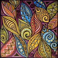 small leaf design painting. $30.00, via Etsy.