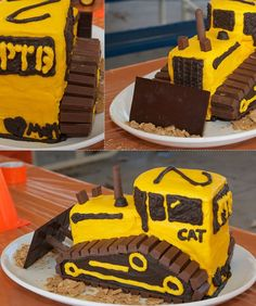 50 Amazing and Easy Kids' Cakes This Tractor Cake would be fun to make for a kids construction theme birthday party or even an adult in the building business Easy Cakes For Kids, Cakes For Boys, Easy Kids Birthday Cakes, Birthday Ideas, Birthday Cake For Husband, Kid Cakes, Bulldozer Cake, Cake Cookies, Cupcake Cakes