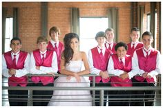 Sort of casual, but still posed. Great quinceanera photo with chamberlains.