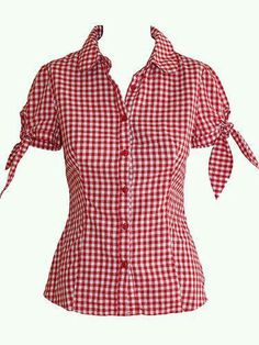 Puff sleeve blouse -- one in gingham, the other in plain white poplin.I love the red gingham, the tied sleeves, and the fact that its a button down.Inspiration - minus the tiesCute style to wear with capris or a plain skirt Rockabilly Shirts, Rockabilly Fashion, Retro Fashion, Blouse Patterns, Blouse Designs, Top Chic, Robes Pin Up, Tie Dye Shirts, Retro Dress
