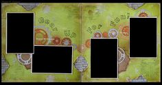 Gear Up For Fun Double Scrapbook Layout using Donna Salazar Spellbinders Sprightly Sprockets dies, Tim Holtz Bricked stencil and Splatters stencil, and Heidi Swapp and CTMH (Framework Alphabet) stamps.