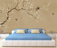 Blue And Cream Bedroom, Painting Textured Walls, Bedroom Decor, Wall Decor, Flower Wall Decals, Master Bedroom Makeover, Tree Wallpaper, Smooth Walls, Beautiful Bedrooms