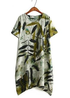 29.5$  Watch here - http://dikmg.justgood.pw/go.php?t=158852 - Round Neck Printed Wasabi Green Straight Dress 29.5$