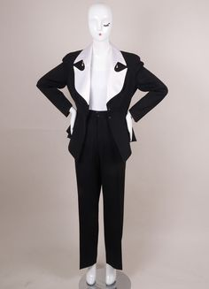 Black and White Wool Embellished Jacket Suit