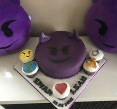 Emoji purple horned devil cake #emoji #cake