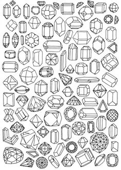 A variety of gems and crystals in Fantasy RPG Illustrations