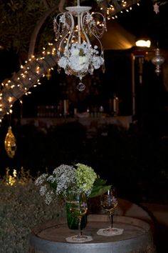 Crystal Floral and Lace Chandelier with Battery operated lighting.