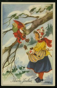 Vintage holiday postcard (new or used) (This one is an antique Finnish Christmas postcard, Lucie Lundbergart as an example but anything vintage is great. Images Vintage, Vintage Christmas Images, Vintage Holiday, Christmas Pictures, Antique Christmas, Swedish Christmas, Christmas Past, Scandinavian Christmas, Christmas Greetings