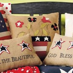 Patriotic Accent Pillows - Meaningful with a cheerful appeal! Love the folksy artistry of these! #homeofthebrave #bellaatto #ad