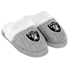 Oakland Raiders Women's Gray High End Open Knit Slide Slipper $19.99 http://fanshop.sfgate.com/Oakland-Raiders-Womens-Gray-High-End-Open-Knit-Slide-Slipper-_-357092678_PD.html?social=pinterest_pfid26-11159