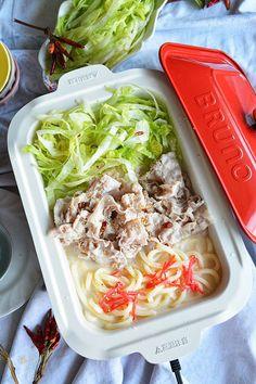 レタス豚しゃぶうどん鍋 Love Food, Cabbage, Vegetables, Cooking, Recipes, Japanese, Kitchen, Japanese Language