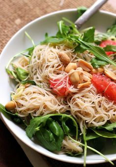A fresh and light Thai-inspired spicy rice noodle salad with grapefruit and peanuts.