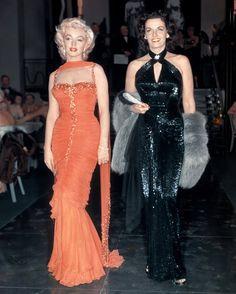 "1953, Hollywood red carpet premier. MARILYN MONROE AND JANE RUSSELL in ""Gentlemen Prefer Blondes"" (1953)"