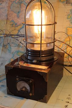 Steampunk Industrial Lamp by Rockycat Design with voltage gage.