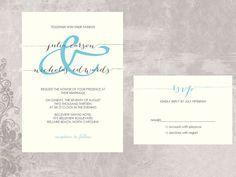Simple and Modern Wedding Invitation - Custom Colors - Julia and Nicholas on Etsy, $2.90