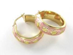 CARINO 14KT PURE YELLOW GOLD PINK ENAMEL EARRINGS HOOP ITALY JEWELRY DESIGNER #CARINO #Hoop
