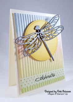 "Very Vanilla 8-1/2"" X 11"" Cardstock, 101650 Dragonfly Dreams Photopolymer Bundle,144728 Pear Pizzazz Classic Stampin' Pad,131180 So Saffron Classic Stampin' Pad,126957 Calypso Coral Classic Stampin' Pad, 126983 Marina Mist Classic Stampin' Pad, 126962 Washi Tape (retired) Basic Black Archival Stampin' Pad, 140931 Dragonfly: Basic Gray 8-1/2"" X 11"" Cardstock, 121044 Versamark Pad, 102283 Clear Stampin' Emboss Powder, #109130  Misc (non-Stampin' Up): Fiskars Crimper Clarity Stencil Brushes"