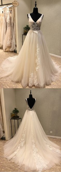 Charming V Neck Tulle Applique V Back Long Wedding Dress for Brides, WG1207 #wedding #weddingdress