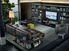 Sectional upholstered sofa PARIS-SEOUL   Imitation leather sofa - Poliform
