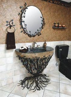 gothic home decor home decor homedecor Gothic Bathroom Vanity Set Baños Shabby Chic, Diy Bathroom, Mirror Bathroom, Wooden Bathroom, Budget Bathroom, Small Bathroom, Master Bathroom, Bathroom Designs, Gothic Bathroom Decor