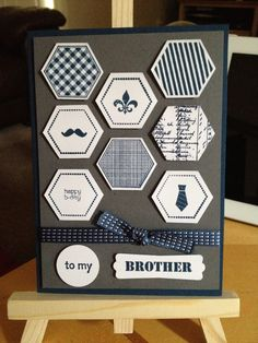 My first play with the 6 sided sampler for a commission: male birthday card Stampin Up!