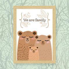 Printable wall art nursery family bears Grafica stampabile We are family famiglia di Cestinodimirtilli
