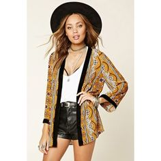 Forever21 Ornate Open-Front Cardigan