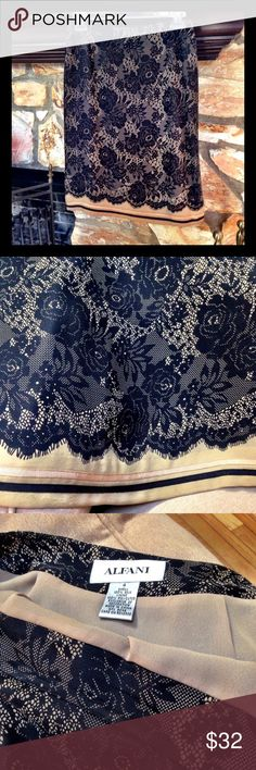 100% Silk Fully Lined Paisley Print Pencil Skirt. Border print & ribbon trim at hem. Side zip. Beautiful quality. ALFANI Skirts Pencil