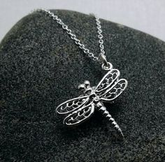 Dragonfly necklace - sterling silver Dragonfly charm on sterling chain by TheWrenandRabbit on Etsy