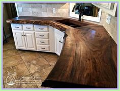 Wood Kitchen Countertops Lovely Counter Tops Our Live Edge Slabs Happy Wife Happy Life This Makes Everybody Happy Plywood Creek Wooden Kitchen Countertops Maintenance Live Edge Countertop, Outdoor Kitchen Countertops, Concrete Countertops, Kitchen Counters, Kitchen Cabinets, Kitchen Sink Accessories, Outdoor Kitchen Design, Wooden Kitchen, Cool House Designs