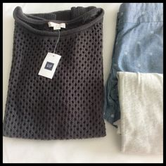 Gap Short Sleeve Sweater Charcoal crochet knit sweater that's great for layering over a tank or button down. True to size.   ~CONDITION: New with tags   No Trades ✅ Use Offer Button GAP Sweaters Crew & Scoop Necks