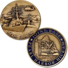 Joint Base Pearl Harbor-Hickman Challenge Coin 1 inch Round Bronze Antique with Enamel Pearl Harbor Hawaii, Military Ranks, Military Life, Department Of The Navy, Royal Family Trees, Military Challenge Coins, Passport Card, Starfleet Ships, Navy Base