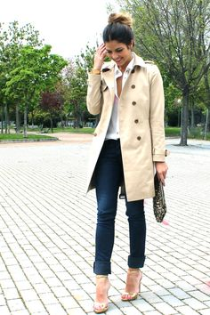 trench + gold heels