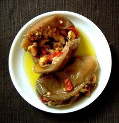 Makdous- Tiny eggplants stuffed with garlic, walnuts and red pepper.