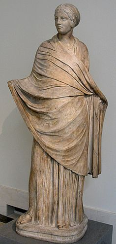 Himation- a woman's cloak. How a woman wore her Himation said a lot about her. It was most often worn to convey modesty. However, heterae (educated courtesans) wore them to attract customers.