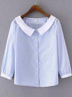 Blue Stripe Contrast Collar Blouse — € ---------------------color: Blue size: L Collar Blouse, Blouse Dress, Blouse Styles, Blouse Designs, Casual Dresses, Casual Outfits, Cute Blouses, Women's Blouses, Tunics