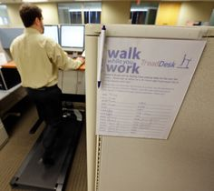 Treadmill desks can keep you up and moving.