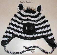Crochet Creative Creations- Free Patterns and Instructions: Crochet Zebra Child Ear flap hat